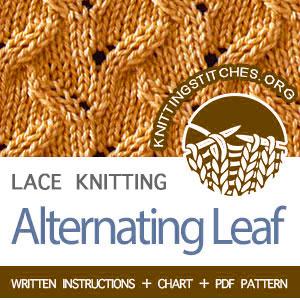 KNITTING PATTERN - Alternating Leaf knitting stitch pattern #knittingpattern #stitchpattern