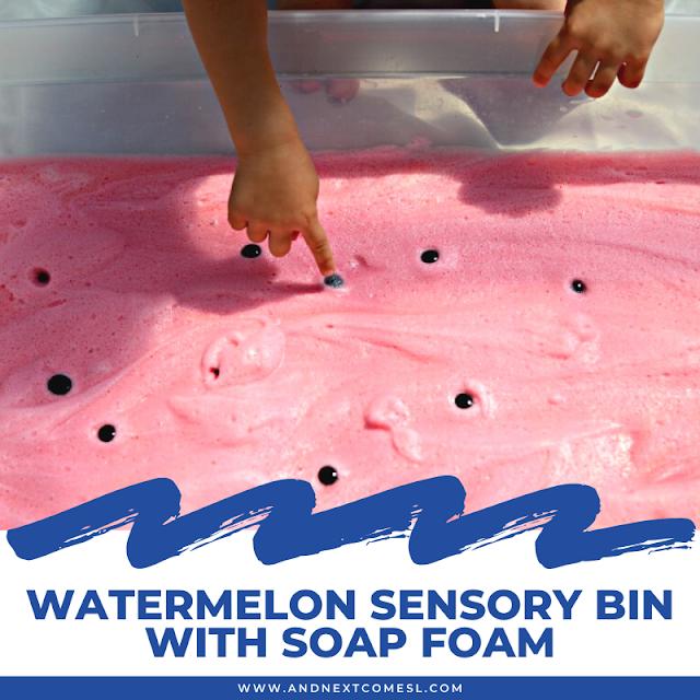 Watermelon sensory bin activity with soap foam