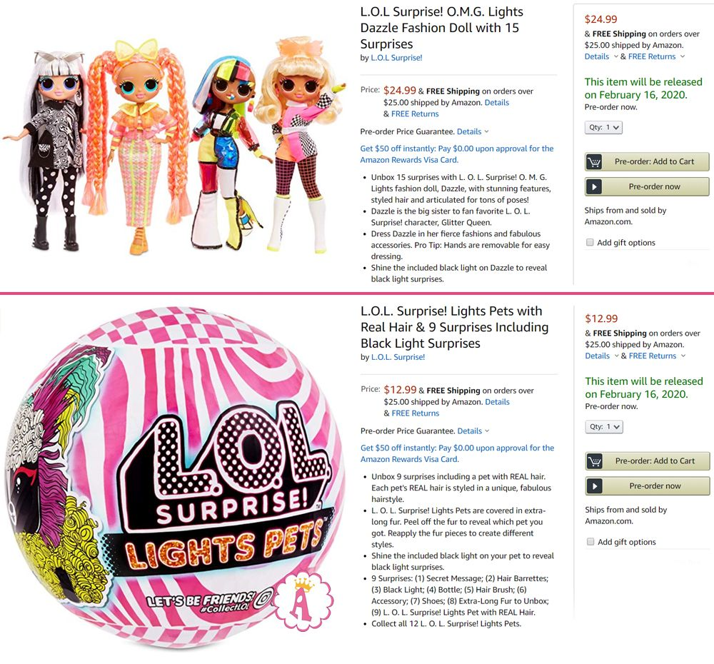 Куклы Лол Сюрприз Омджи и питомцы L.O.L. Surprise Lights Series 2020