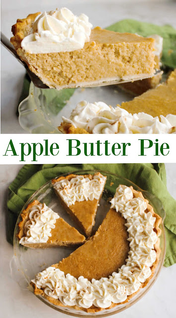 This may just become your new favorite fall pie!  It is easy to make and tastes amazing.  The apple butter gives it such a wonderful apple flavor and the cream cheese and sweetened condensed milk bring   that silky smooth creaminess.  The combination is sure to win over your taste buds.  Make one for a fall gathering and be sure to have on your Thanksgiving dessert table too!