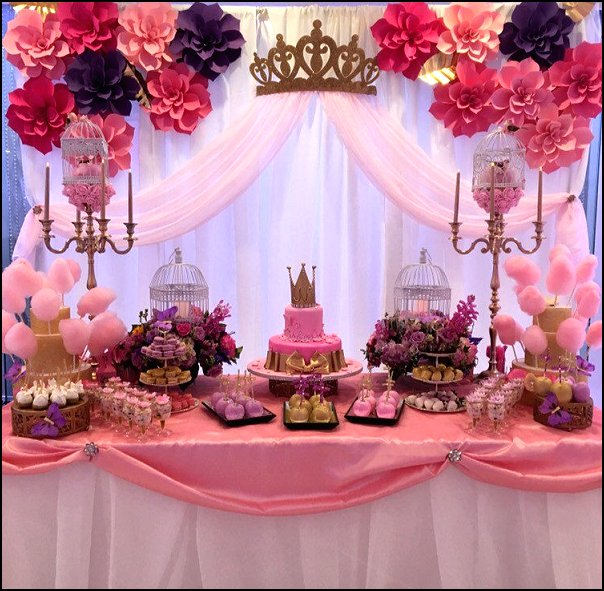 Crown Wall Decor with Sheers for your Little Princess party decorations