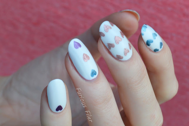 heart stencils matte chrome metallic valentine's day nails