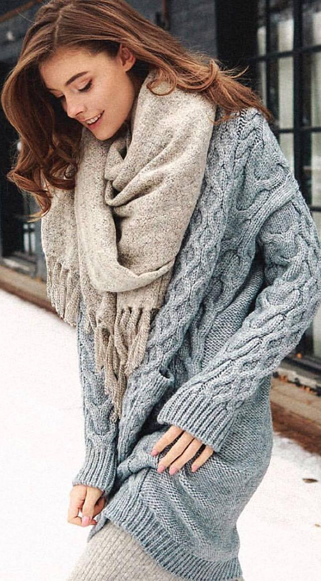 cozy winter outfit idea / nude scarf and knit sweater dress
