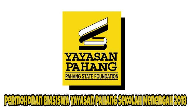 Permohonan Biasiswa Yayasan Pahang Sekolah Menengah 2018