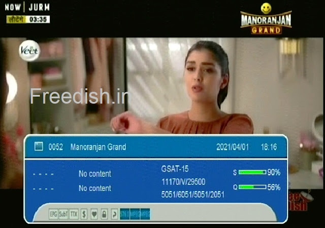 Know Manoranjan Grand channel number and satellite frequency on DD Free dish