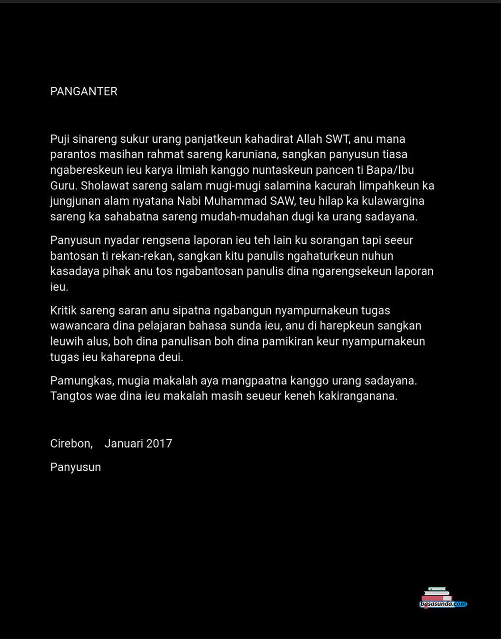 Contoh Gambar Susunan Makalah Hasil Wawancara Bahasa Sunda Basa Sunda
