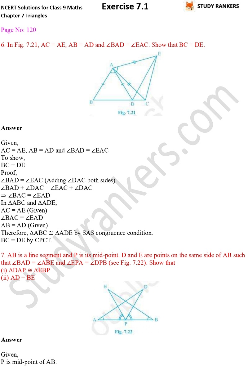 NCERT Solutions for Class 9 Maths Chapter 7 Triangles 7.1 Part 4