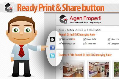 tombol cetak dan share agar memudahkan calon pembeli properti