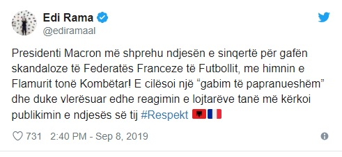 Emmanuel Macron apologizes to Edi Rama for mistaking Albania's anthem by the French Football Federation