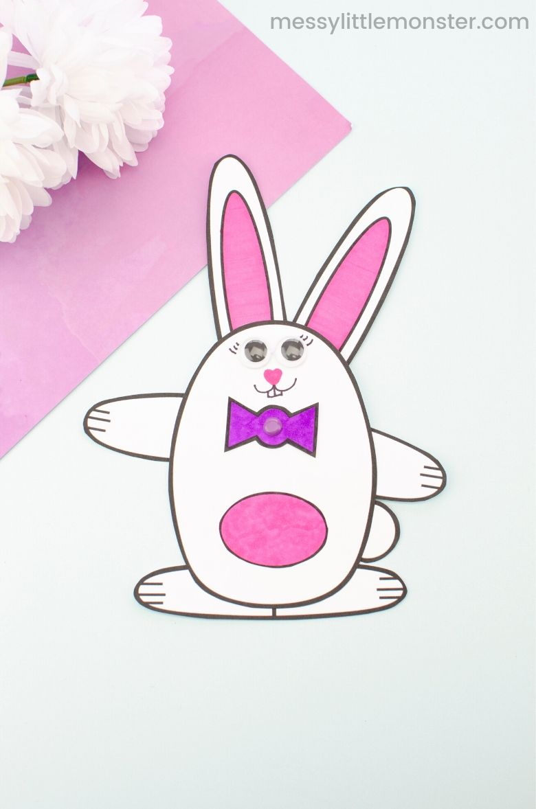 Moving bunny craft template