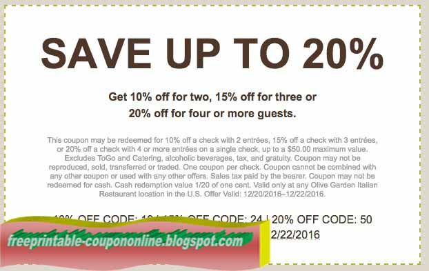 Printable Coupons 2020 Olive Garden Coupons