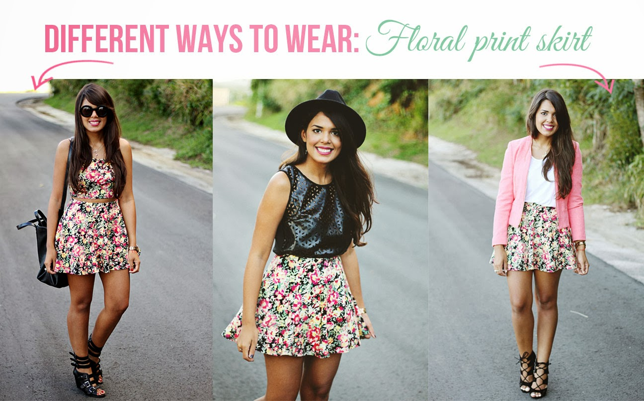 A GIRL NAMED NYDIA: Different ways to wear: Floral print skirt