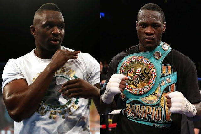 Dillian Whyte (left)  and Deontay Wilder (right)