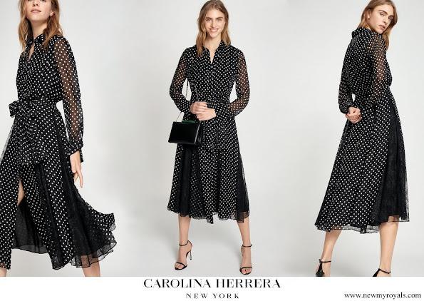 Crown Princess Mary wore a Carolina Herrera polka dot silk shirt dress