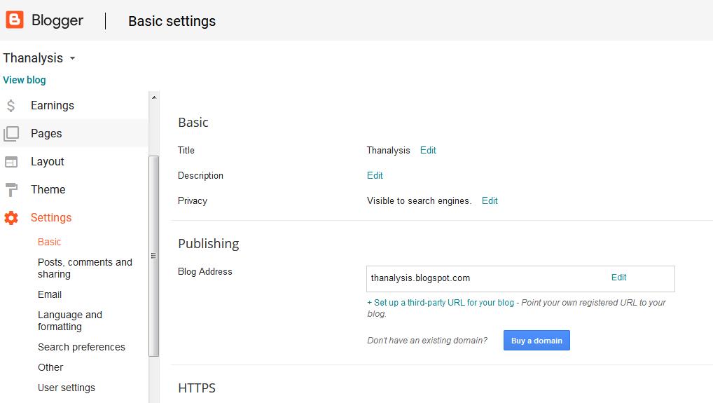 Settings tab of Google Blogger - Thanalysis