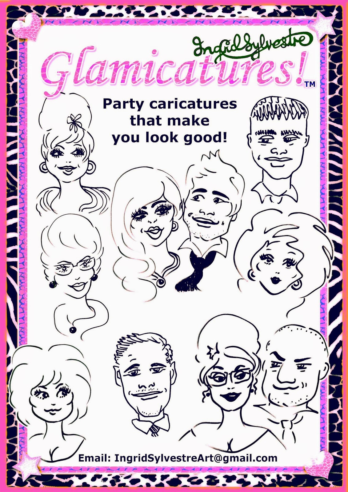 Top quality North East Entertainment Ingrid Sylvestre Glamicatures TM Caricatures that make you look your best Unique Wedding Entertainment ideas County Durham Newcastle upon Tyne Luxury Wedding Entertainment ideas Northumberland Unique Wedding Entertainment ideas Darlington Wedding Reception Entertainment ideas Middlesbrough Teesside Wedding Evening Entertainment ideas Sunderland Distinctive Wedding Entertainment Yorkshire Wedding Entertainment North East UK