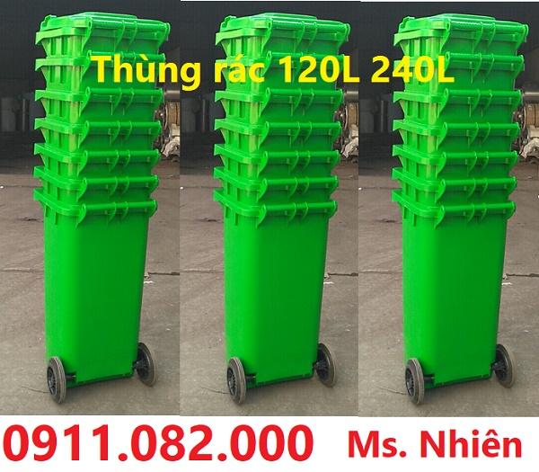 Giảm giá thùng rác 120 lít nhựa hdpe màu xanh, cam, vàng giá rẻ tại kiên giang