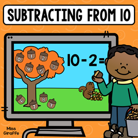 Subtracting from 10 game for easy practice to master this important fact fluency skill.
