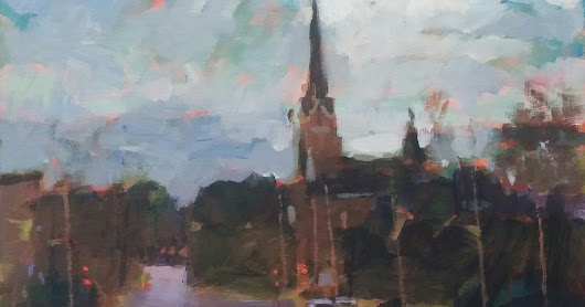 BRAD BISBEY: Downtown Church. 12x14 acrylic on canvas.
