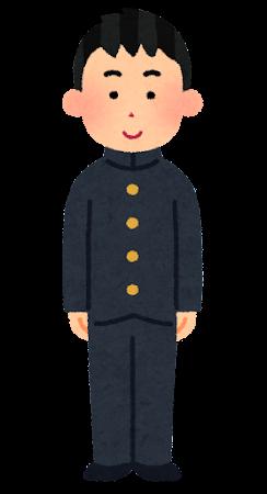 学ランを着た男子学生のイラスト(冬服・学生服)