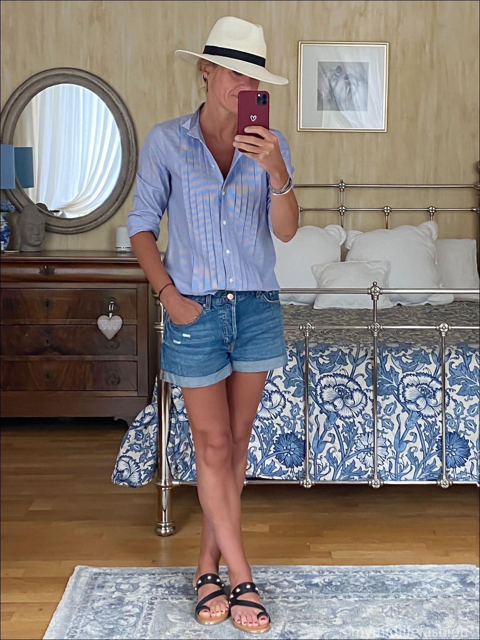 my midlife fashion, Zara Panama hat, j crew stripe tuxedo shirt, h and m boyfriend denim shorts, Carvela karafe sandals