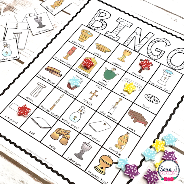 Play Mass Item Bingo during your on your Catholic zoom call with kids.