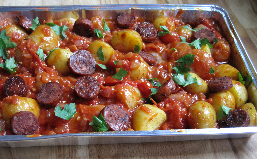 Patatas Bravas ready for the oven