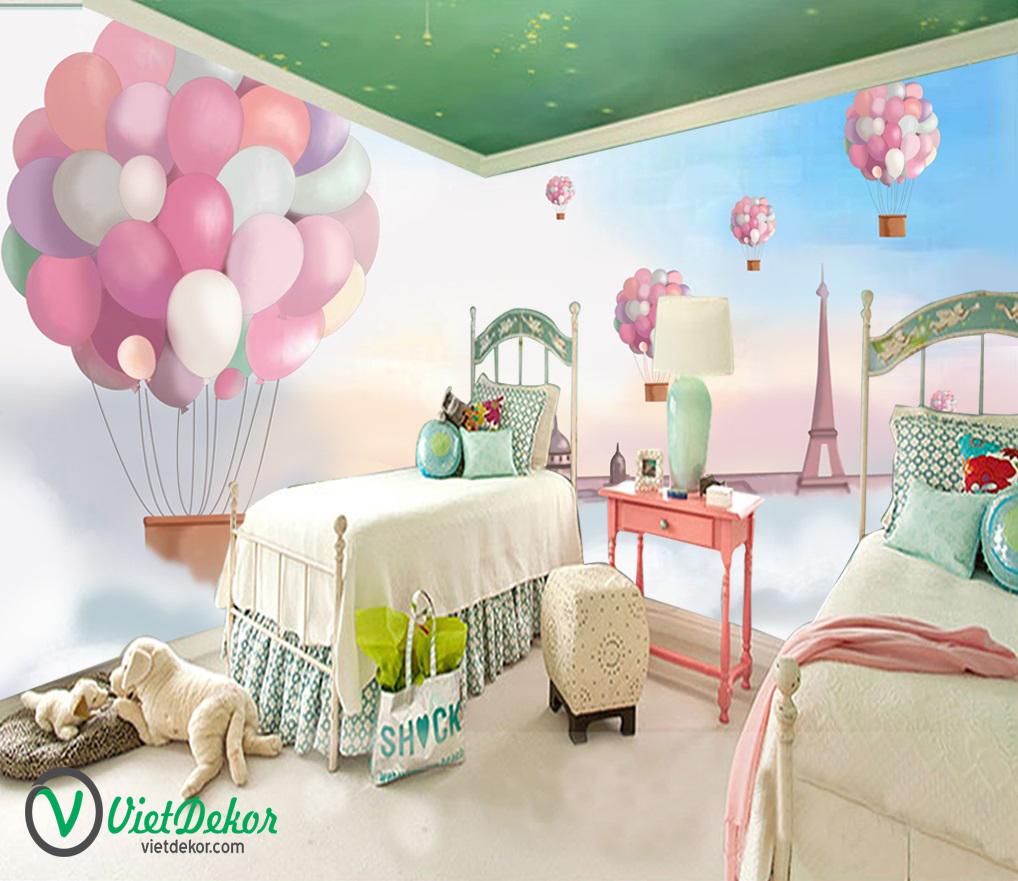 Tranh 3d dán tường bóng bay phòng ngủ đẹp