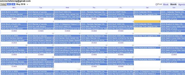 crochet CAL calendar 2016
