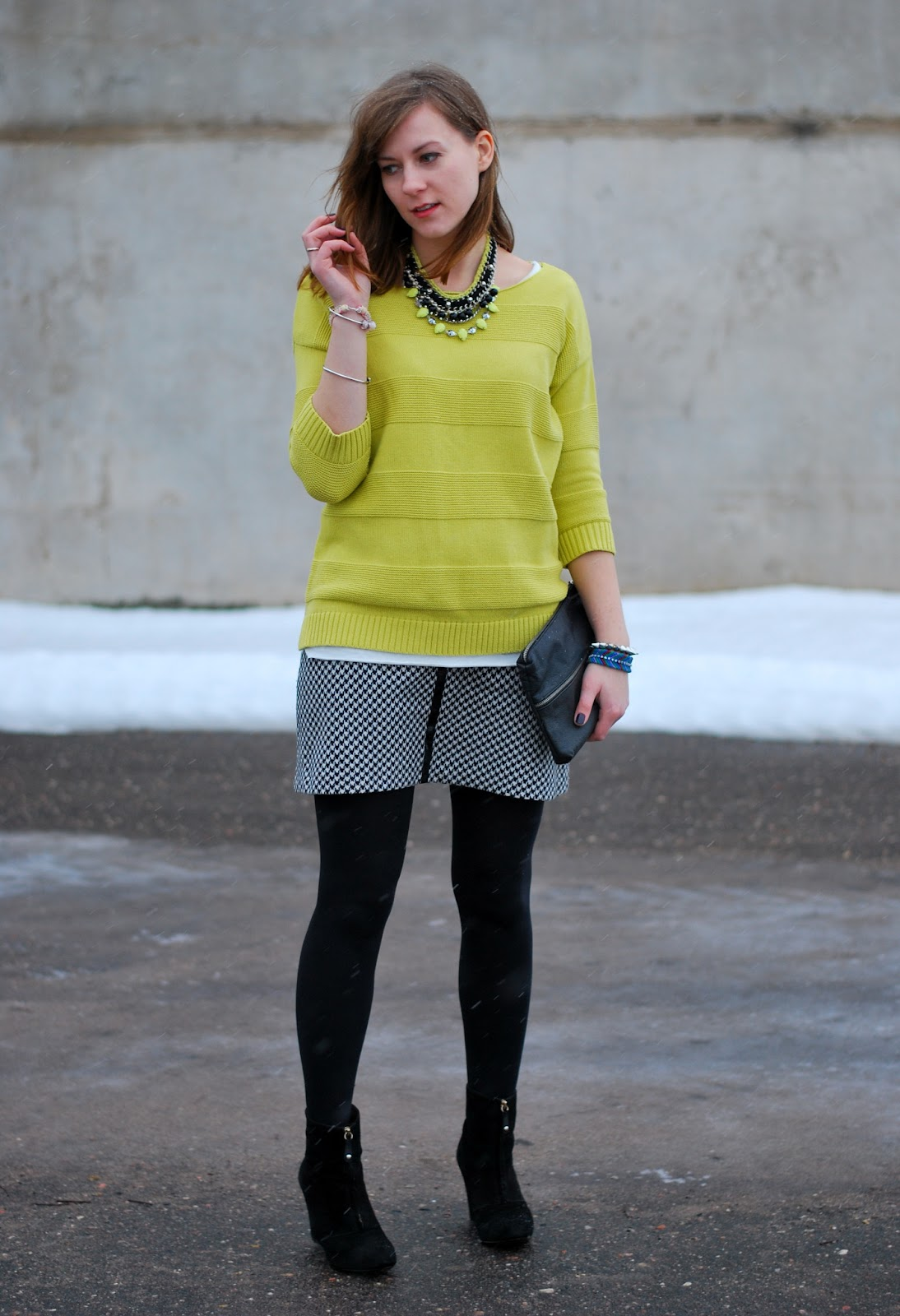 0b313883c58 ... cozy sweater to wear with this skirt to get fresh and sophisticated  outfit. Finally I found oversized neon lime sweater. I think sweater and  skirt work ...