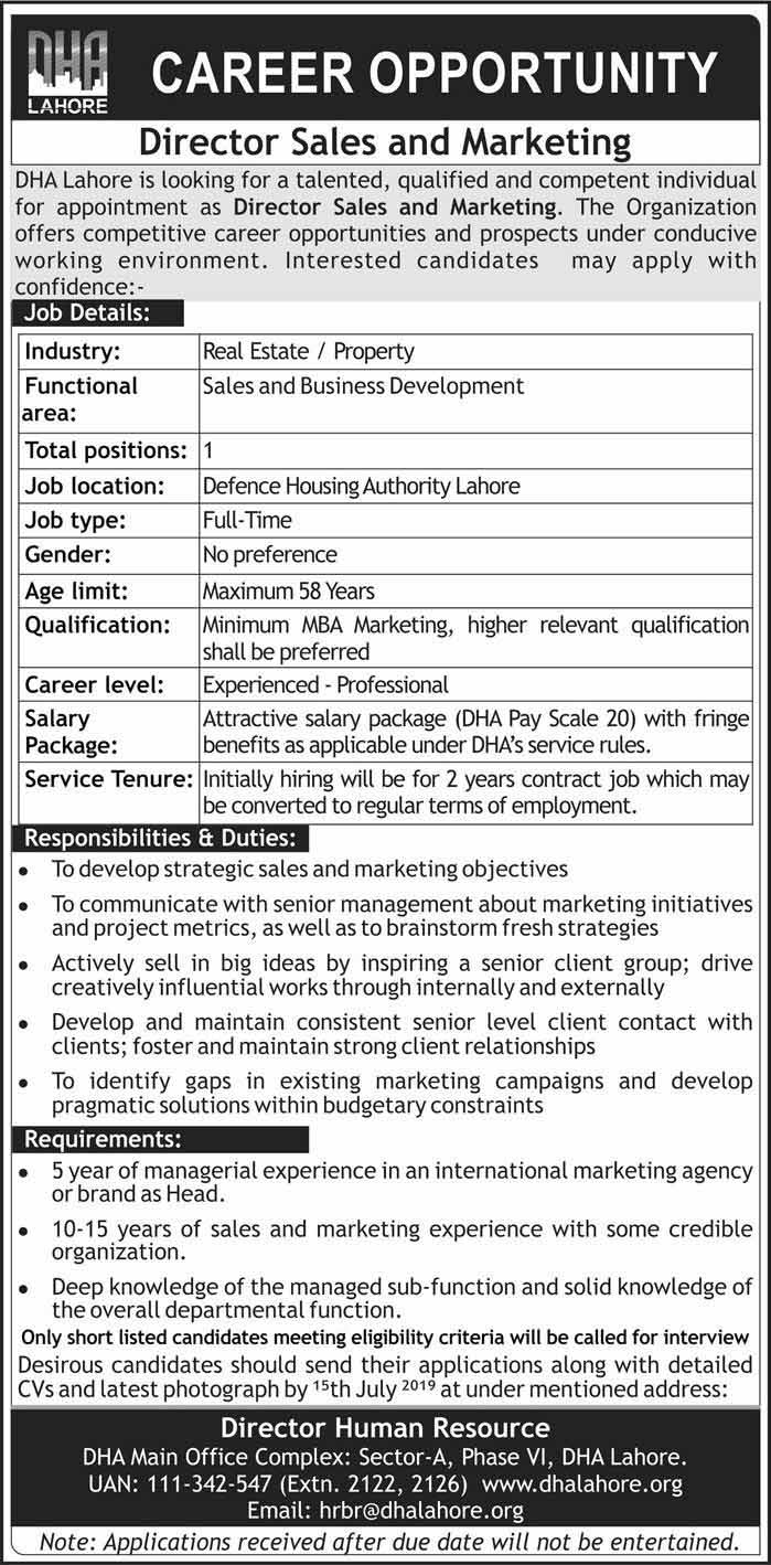 DHA Lahore Career Opportunities