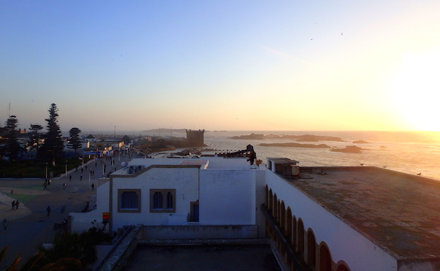 View of the port of Essaouira at sunset