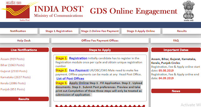 Gujarat Post Recruitment 2019 for 2510 Post Office Gramin Dak Sevak  Posts 2019@ www appost in
