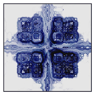 A generative art image like a drawing with blue ink made with the 'Processing'.