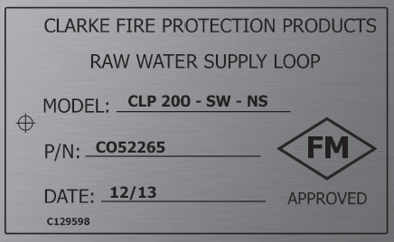 Photo of Clarke Fire cooling loop name plate