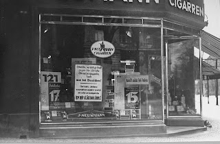 J. Neumann Cigarren AG - with a boycott signs  displayed in the window  (from USHMM site - picture #07425)