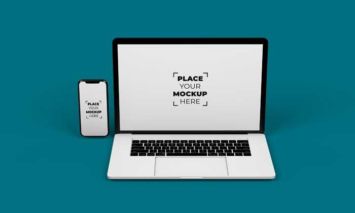 Smartphone Laptop Design Mockup