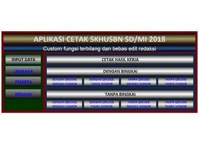 Aplikasi Cetak SHUSBN SD/MI 2018 dengan fungsi terbilang dan bebas edit
