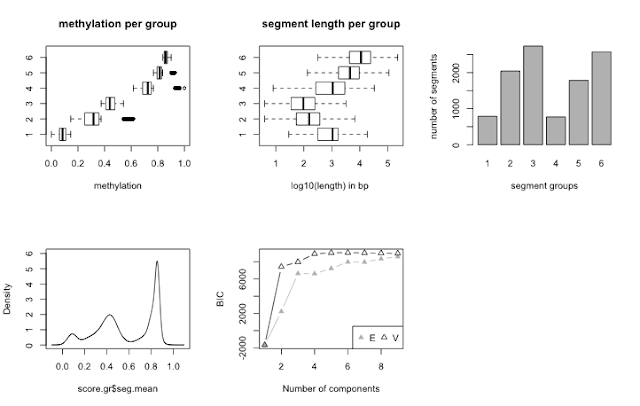 Segmentation of methylation profiles using methylKit