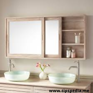 large wooden bathroom wall cabinet