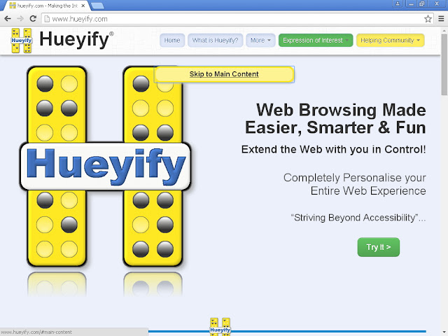 screenshot showing the main Hueyify website with the tab skip-to-content showing