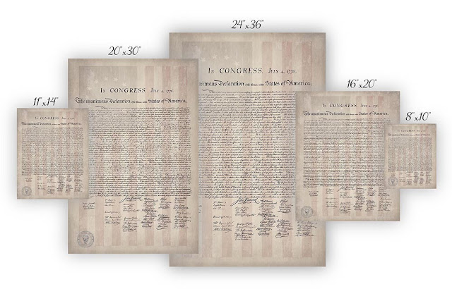 Declaration of Independence with 1776 Flag / Parchment Background Posters and Prints