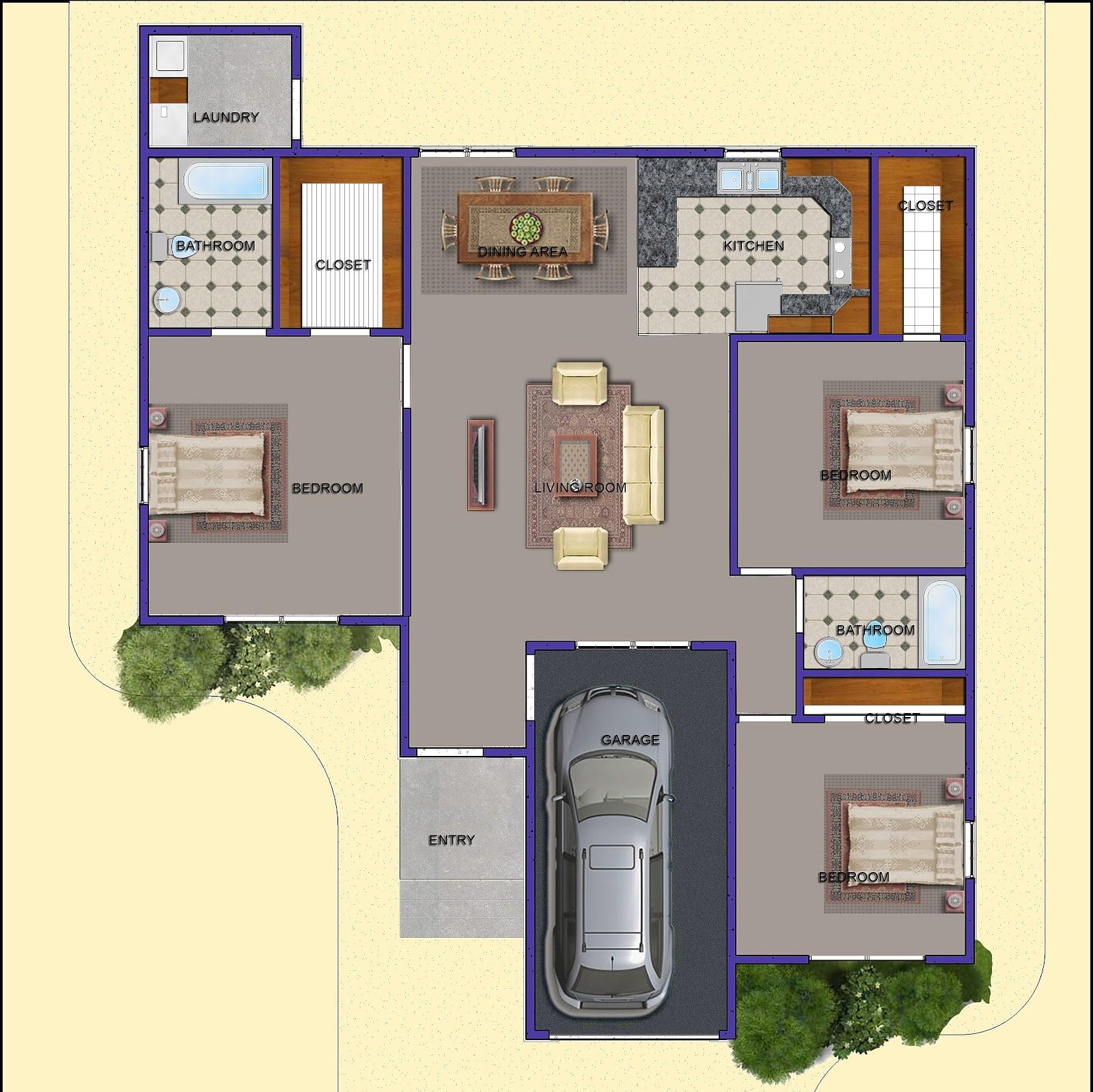 Goodir Somali Import Export Education: 3 Bedroom Home Plan