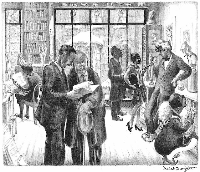 Mabel Dwight 1928 art, people in a book store