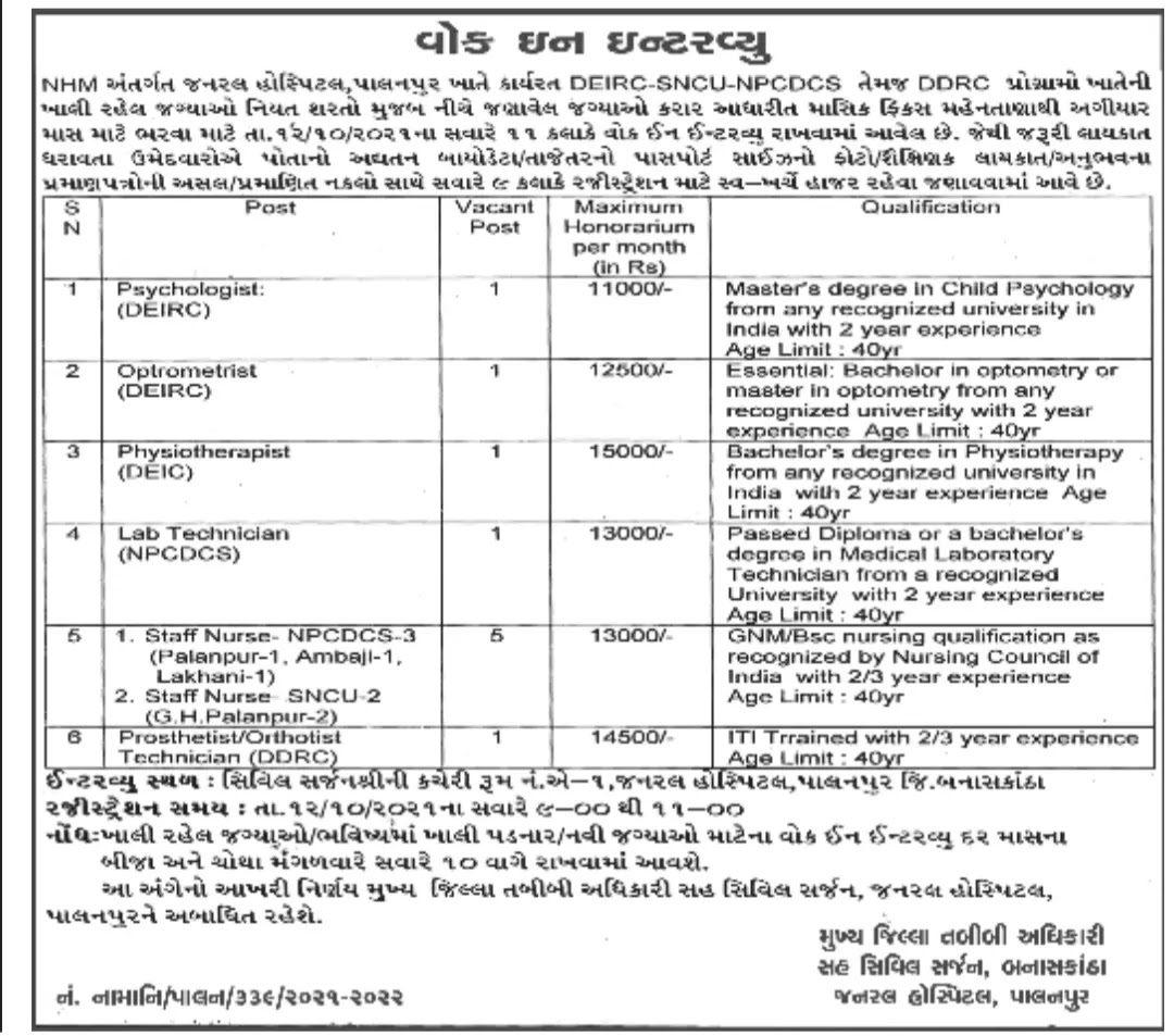 Walk In Interview - General Hospital Palanpur (12/10/2021)