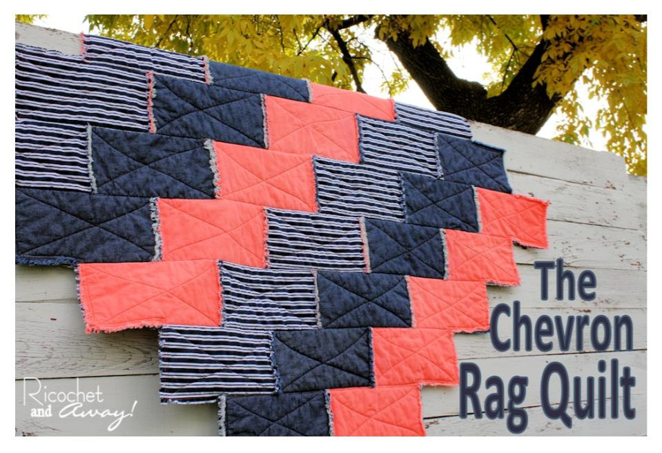 pattern and tutorial for a chevron rag quilt