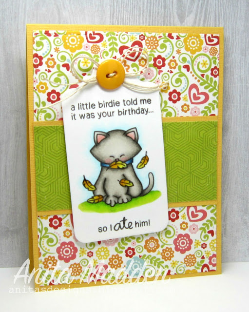Birthday Kitty Card by Antia Madden | Newton's Birthday Flutter Stamp set by Newton's Nook Designs #newtonsnook
