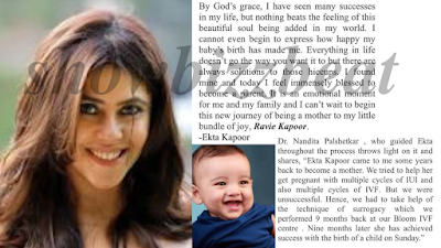 "Ekta Kapoor is Now a Mom of New Born ""Ravie Kapoor"" through Surrogacy"