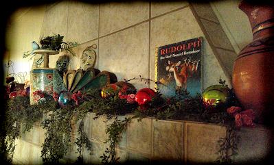 mantel decorations old Christmas children's books