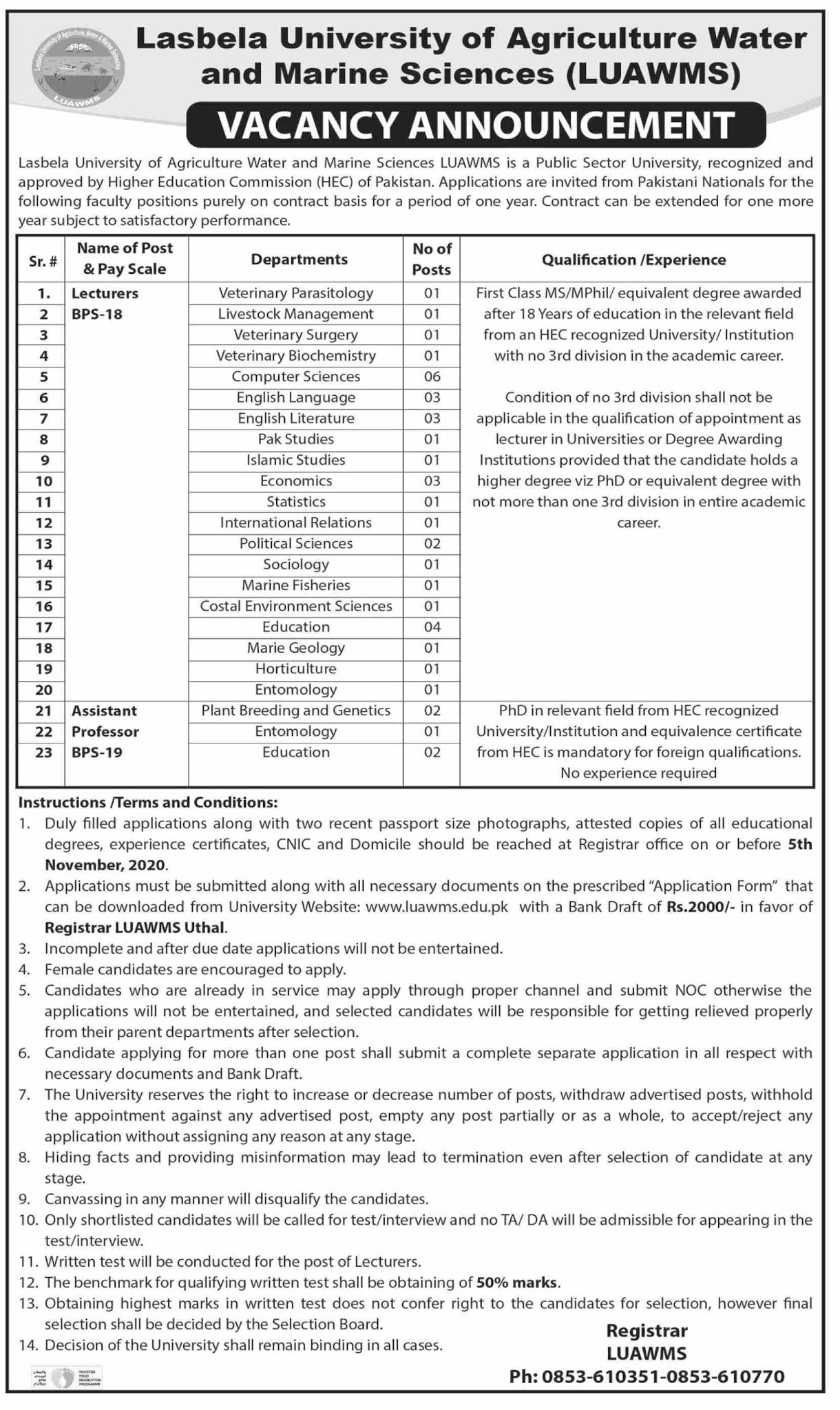 LUAWMS Lasbela University of Agriculture Water and Marine Sciences Jobs Download Application Form Jobs 2021-2022 - Apply Online - www.luawms.edu.pk